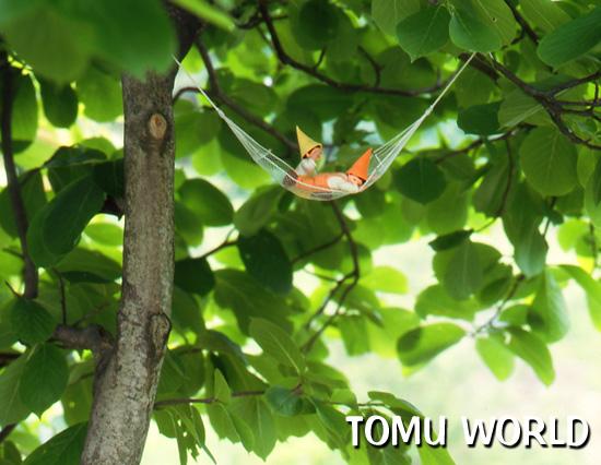 もくれん の木陰にハンモックを吊るす小人たち